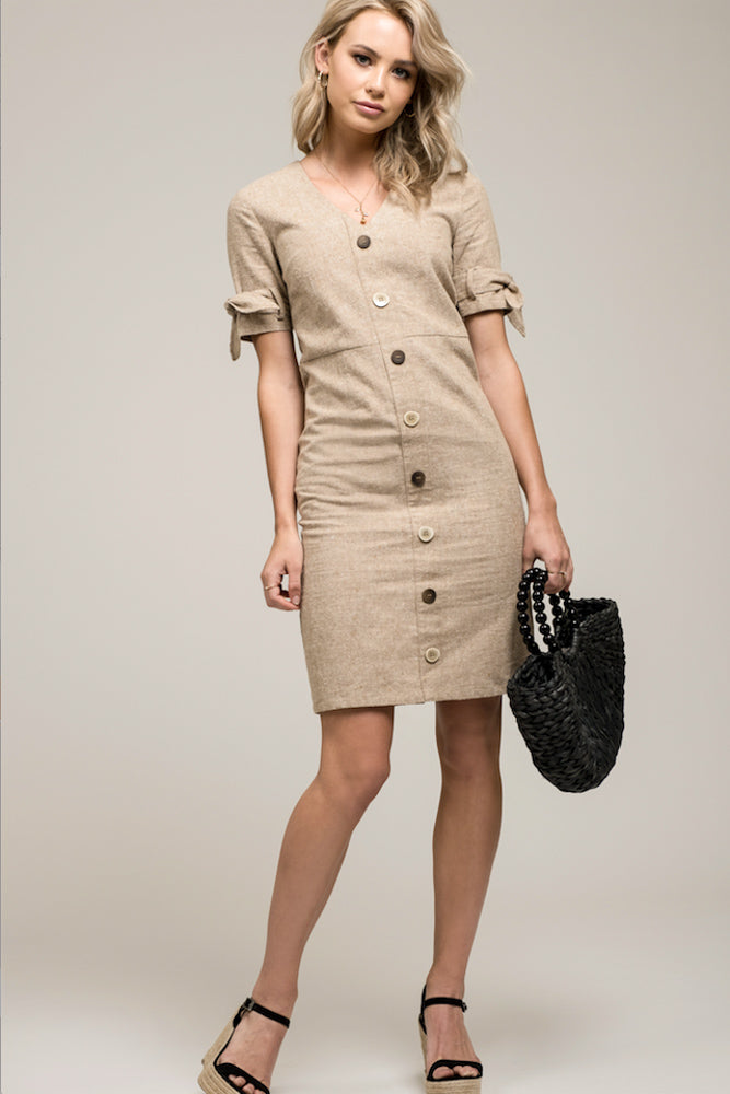 Khaki Button Dress