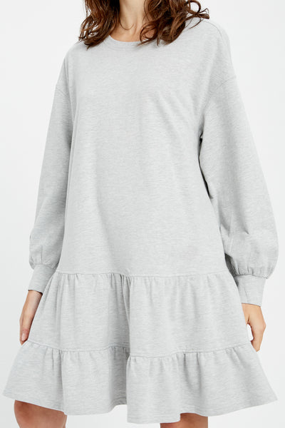 Heather Grey Jersey Tiered Dress