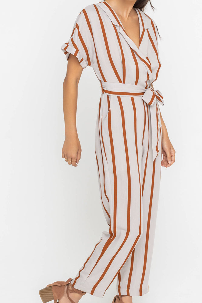 Grey Stripe Jumpsuit