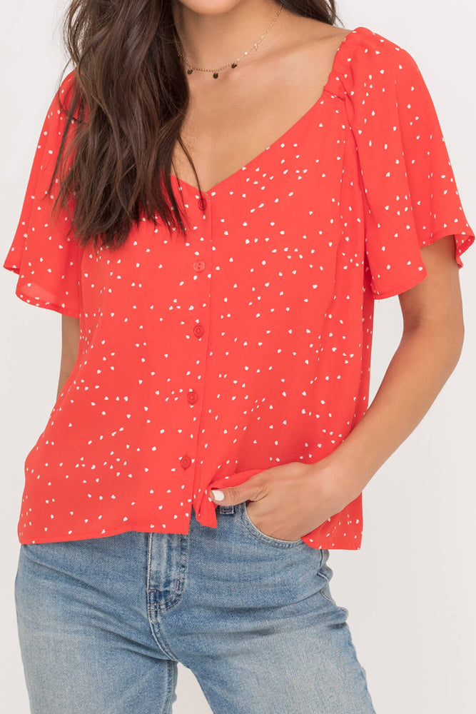 Red Button Down Flutter Sleeve Blouse