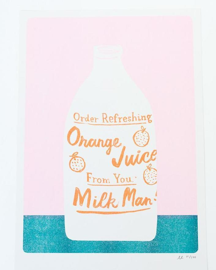 Orange Juice Risograph Print