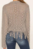 Grey Bell Sleeve Fringe Sweater
