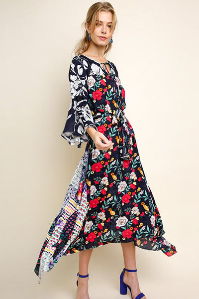Navy Long Mixed Print Dress