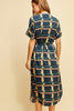 Navy Abstract Print Dress