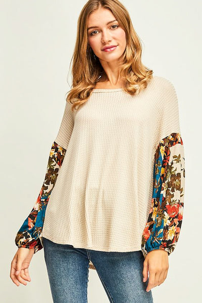 Oatmeal Accent Sleeve Top