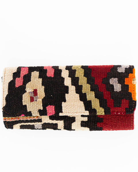 Red and Pink Turkish Kilim Clutch