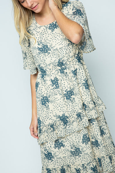 Blue Floral  Natural Midi Dress