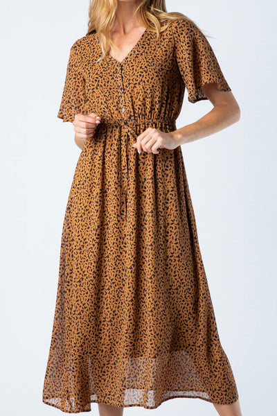 Leopard Button Up Midi Dress