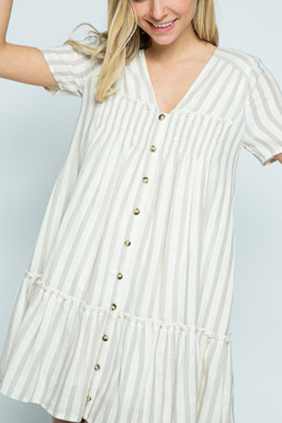 Stripe Button Detail Dress