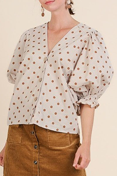 Grey Polka Dot Puff Sleeve Top