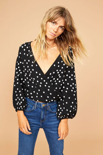 Polka Dot Wrap Knit Sweater