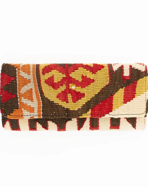 Red and Green Turkish Kilim Clutch