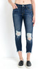 Crop Destroyed Hem Jeans
