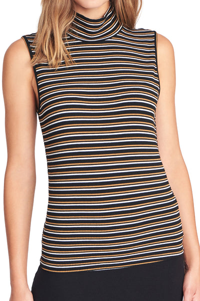 Striped Essential Sleeveless Mock Neck Top