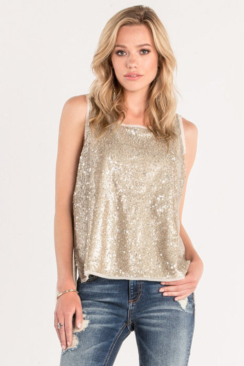 Sequined Split Back Tank