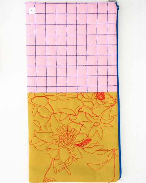 Quilted Petal and Mustard Oversized Pouch