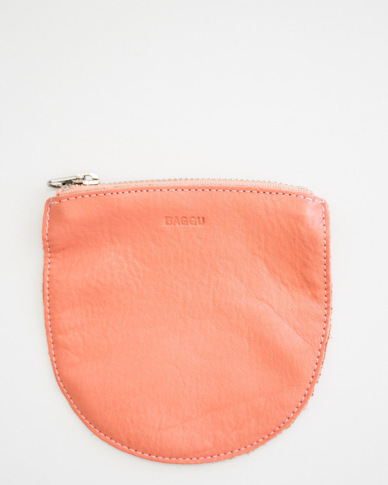 Peach Leather Mini U Pouch