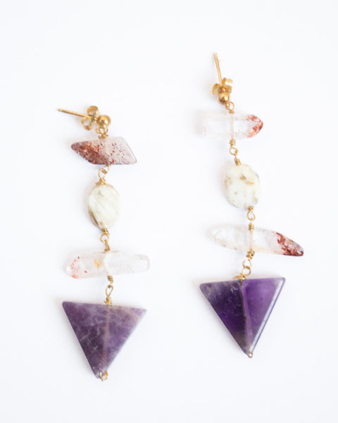 Amethyst Arrow Earrings