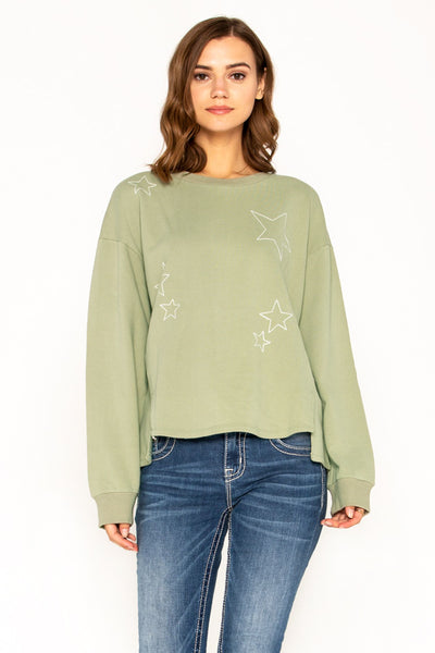 Star Embroidered Side Slit Long Sleeve Pullover Top