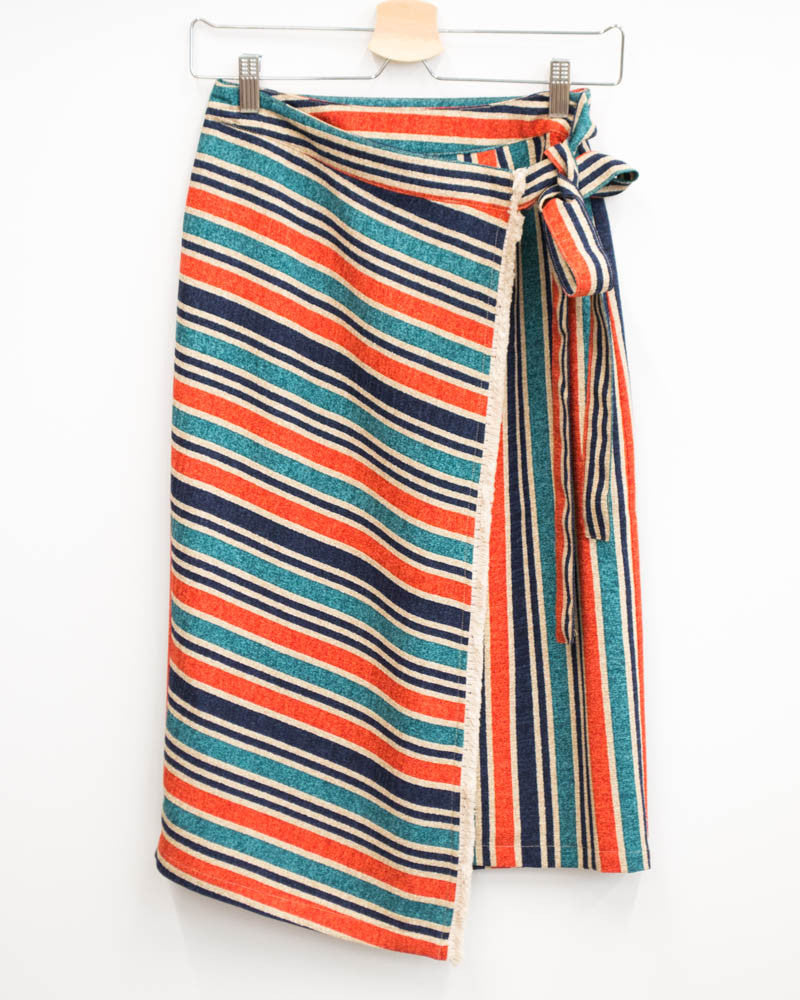 Primary Stripes Wrap Skirt