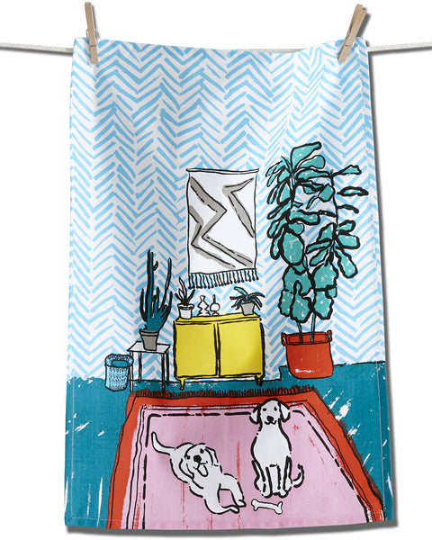 Playful Dogs Dishtowel