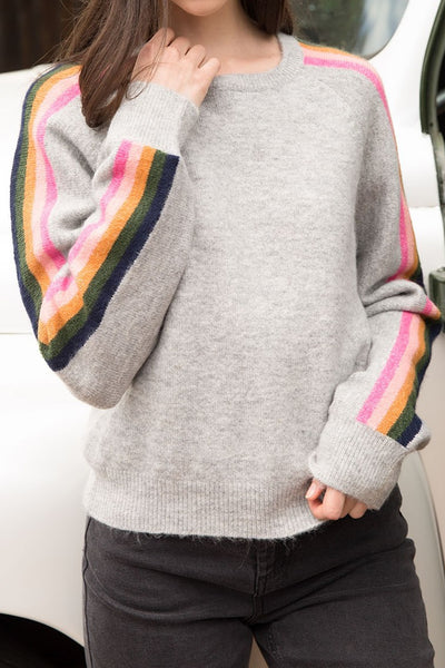 Rainbow Stripe Sleeve Sweater