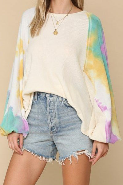 Waffle Knit Boho Top with Tie Dye Sleeves