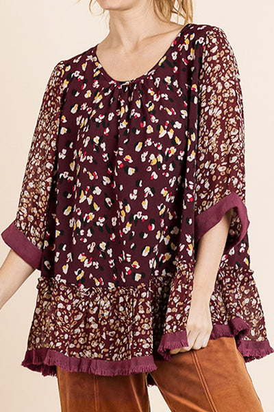 Berry Animal Print Ruffle Top