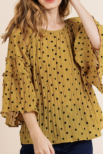 Golden Yellow Polka Dot Top