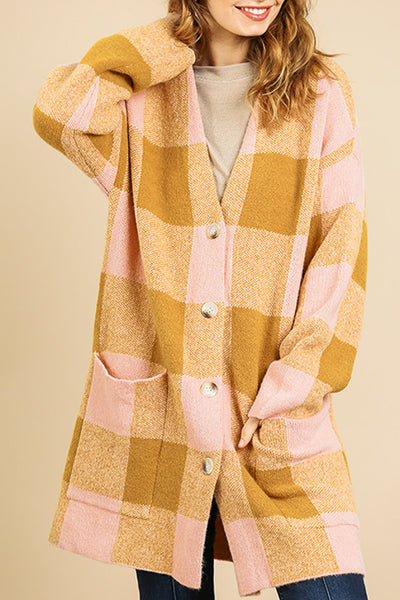 Pink and Gold Checked Cardigan