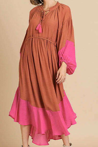 Rust and Pink Colorblock Midi Dress