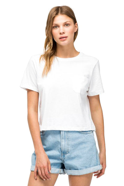 White Boxy Crop Tee