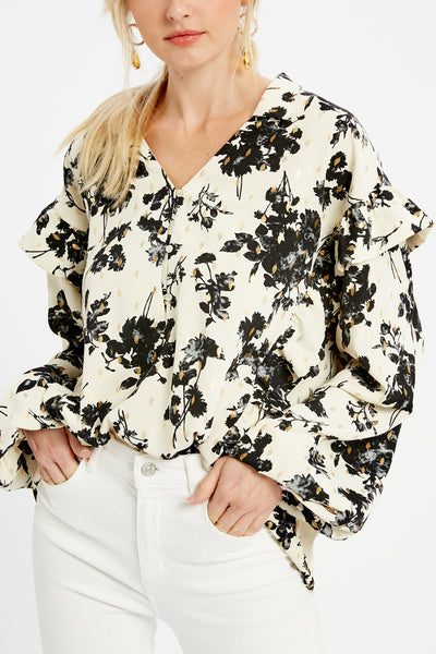 Chinoiserie Floral Print Blouse