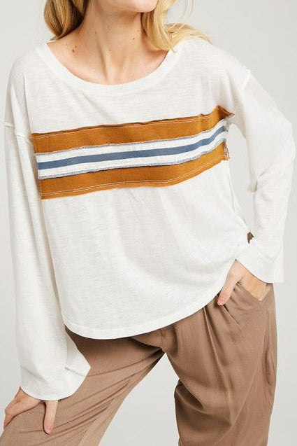 Mustard Striped Long Sleeve Tee