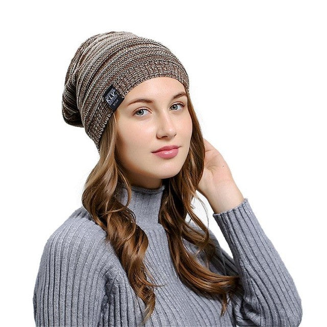 3428cacec94 Wrinkle Winter Warm Hood knitted Wool Beanies Cap Women Men Outdoor Ba –  Bdsign