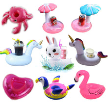 YUYU Mini inflatable Cup Holder Unicorn Flamingo Drink holder pool Float PVC Swimming Pool Bathing  Kids Toy Party Decoration