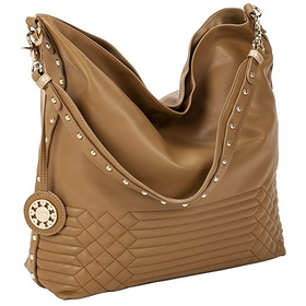 10642 Quilted Cafe and Light Gold Reversible Hobo