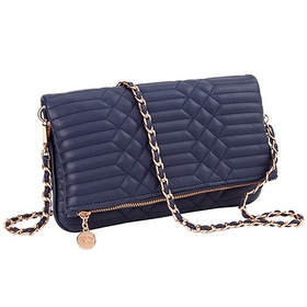 10645 Navy Quilted Clutch