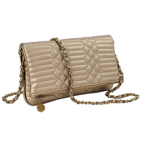 10646 Gold Quilted Clutch