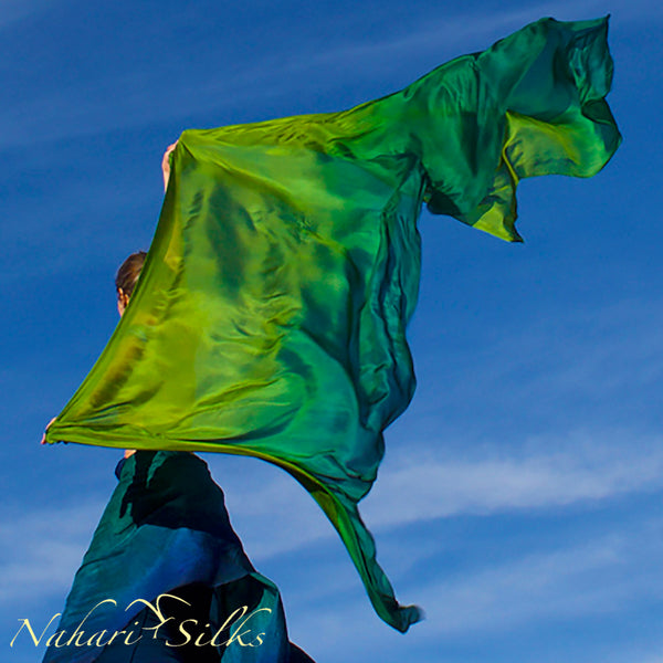 Nahari Silks Womens 100% Silk Dance Scarves Shawls Wraps Blended Colors Green Ombre