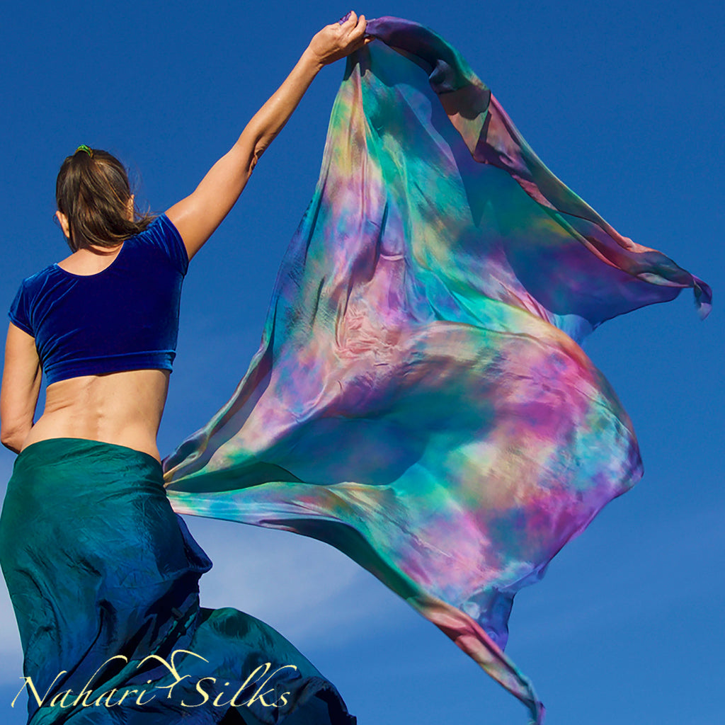 Nahari Silks Womens 100% Silk Dance Scarves Shawls Wraps Blended Colors Chameleon