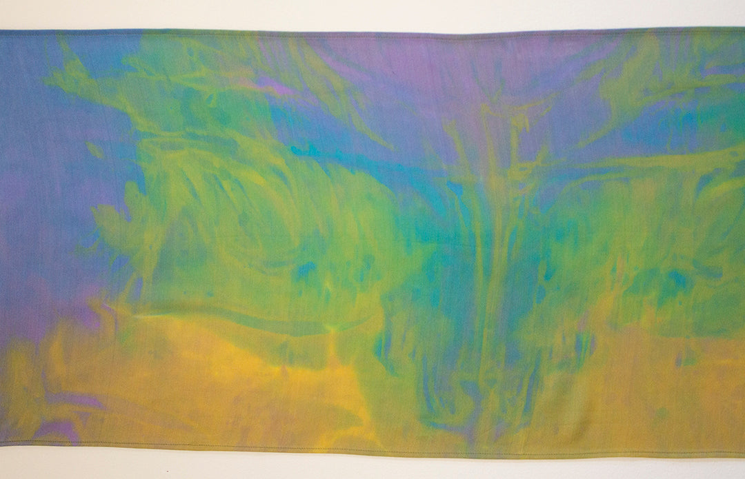 Silk Scarf Small Green Lavender Yellow