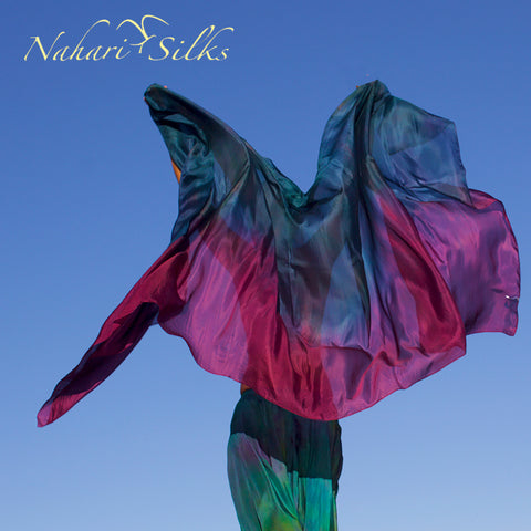 Nahari Silks Womens 100% Silk Dance Scarf Shawl  Blended Color Jade Night