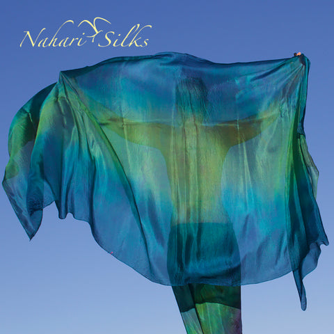 Nahari Silks Womens 100% Silk Dance Scarf Shawl  Blended Color Sea Green