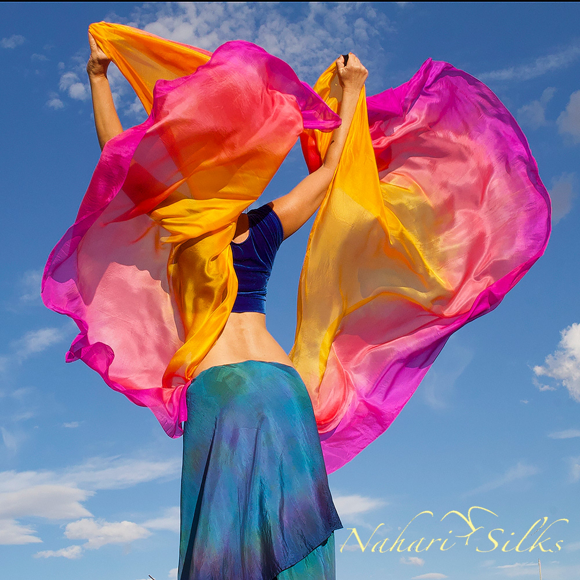 Nahari Silks Half Circle Belly Dance Veils Set Half Circle Matching Veils Sunrise