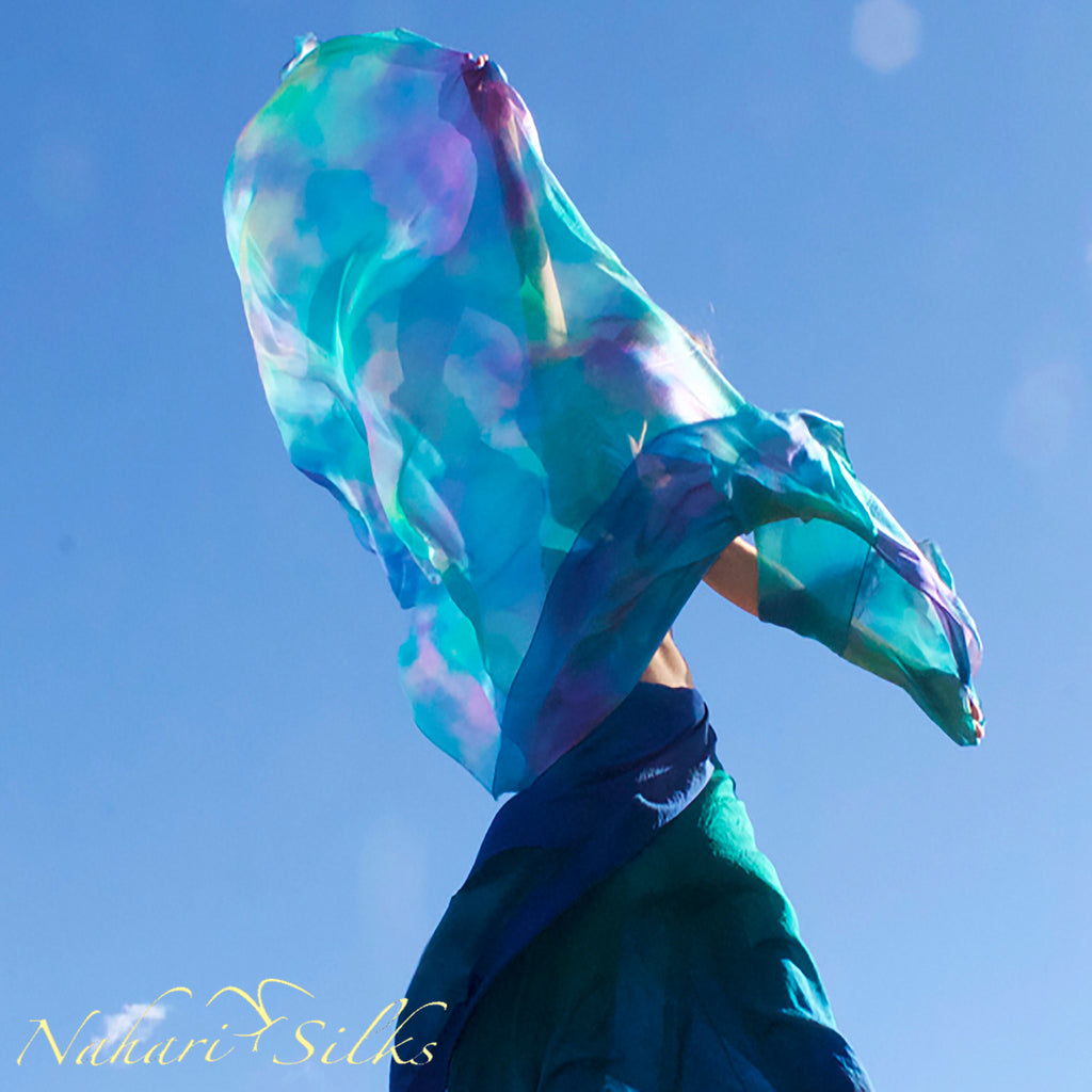 Nahari Silks Womens 100% Silk Dance Scarves Shawls Wraps Blended Colors Angel