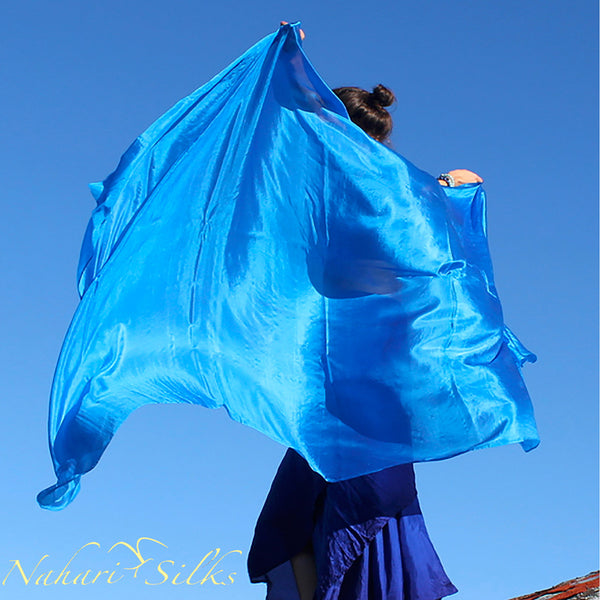 Nahari Silks Belly Dance Veil Silk Aqua