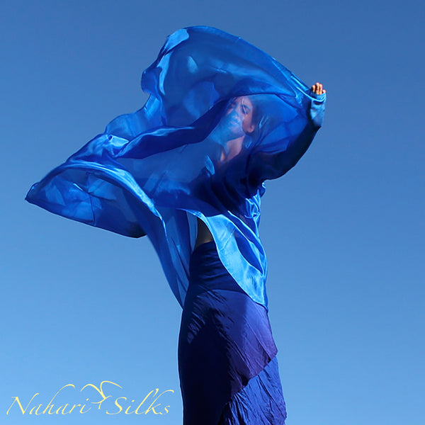 Nahari Silks Womens 100% Silk Dance Scarves Shawls Wraps Solid Colors Baby Blue