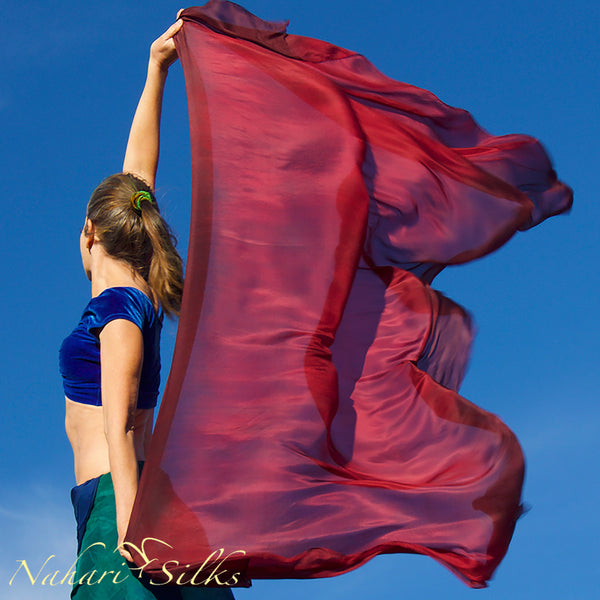 Nahari Silks Womens 100% Silk Dance Scarves Shawls Wraps Blended Colors Burgundy Red Flame