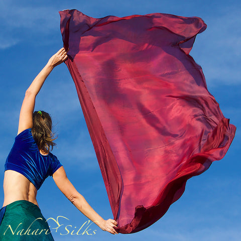 Nahari Silks Womens 100% Silk Dance Scarves Shawls Wraps Blended Colors Burgundy Red Orange Flame